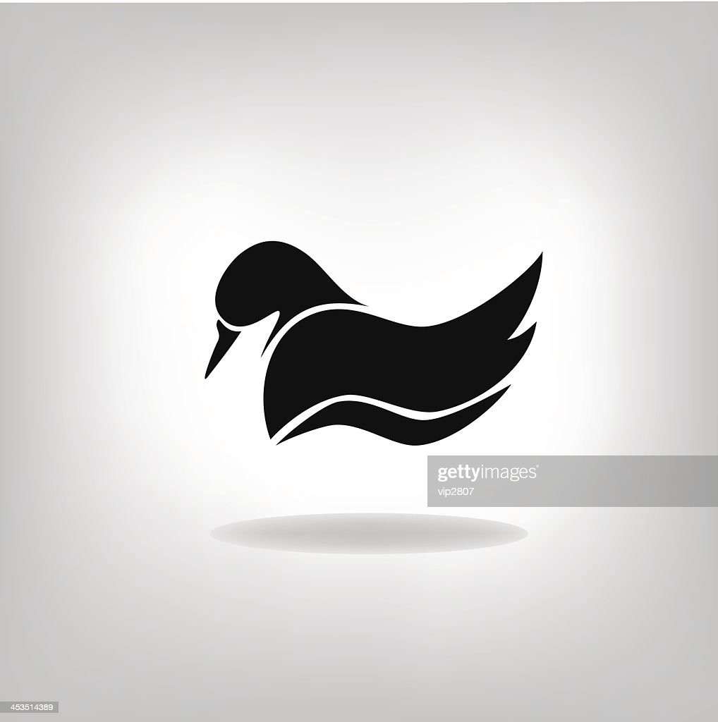 the stylized silhouette of a duck