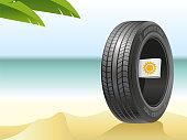 The summer tire on the hot beach