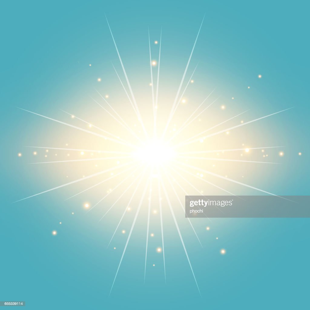 The sun in the blue sky vintage background with lighting effect Vector