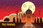 The Taj Mahal. White marble mausoleum on the south bank of the Yamuna river in the Indian city of Agra, Uttar Pradesh. Starry sky. Night. Vector illustration