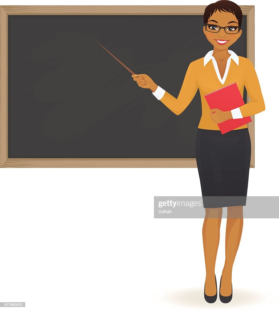 The teacher at blackboard