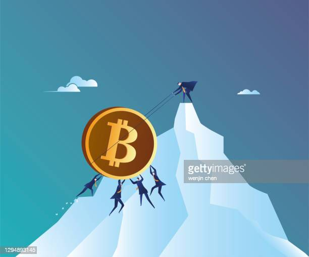 the team strives to push bitcoin to the top of the mountain - bitcoin stock illustrations
