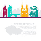 The template of the leaflets with a map of the Czech Republic and architectural attractions of Prague