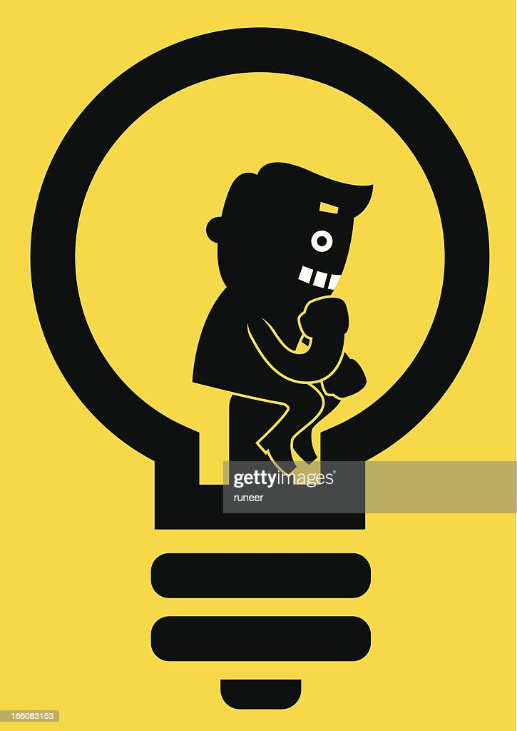 the thinker in bulb yellow business concept vector art getty images