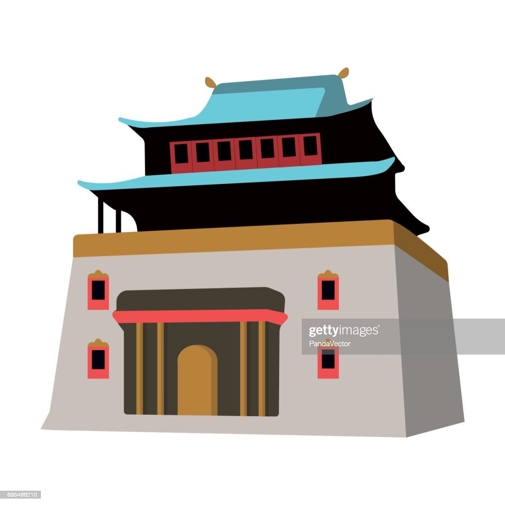 The three-storey building in Mongolia.Mongolian national Shrine of Mitarai.Mongolia single icon in cartoon style vector symbol stock illustration.