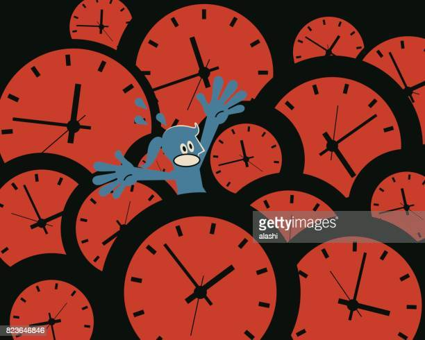 The time pressure. Businesswoman (woman, girl) drowning in lots of time clocks. Concept about youth fades; time management failure