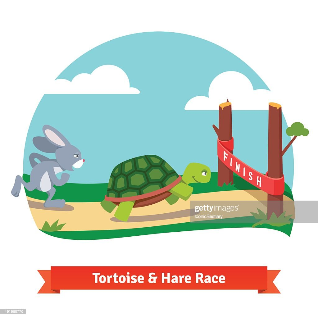 The Tortoise and the Hare racing together to win