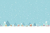 The town in the snow falling place flat color 001