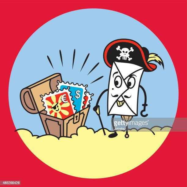 the treasury of pirate envelope - buried stock illustrations, clip art, cartoons, & icons