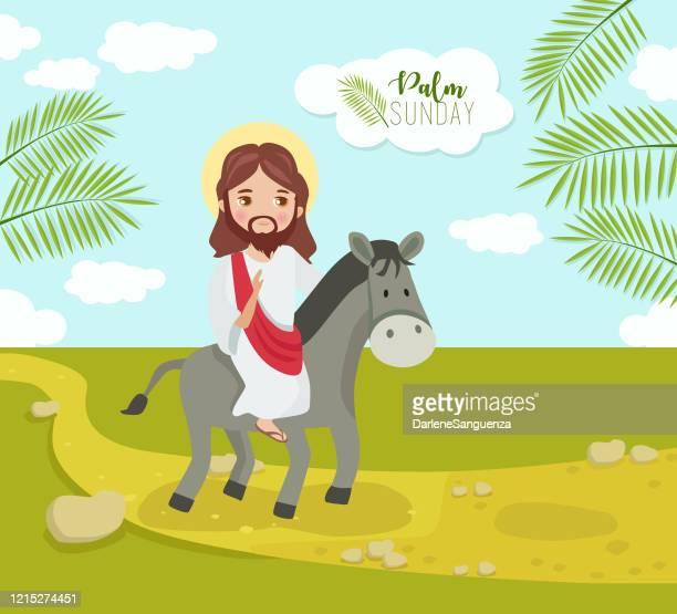 ilustrações, clipart, desenhos animados e ícones de a entrada triunfante de nosso senhor jesus cristo em jerusalém como domingo de palma, uma semana antes do domingo de páscoa. - domingo de ramos