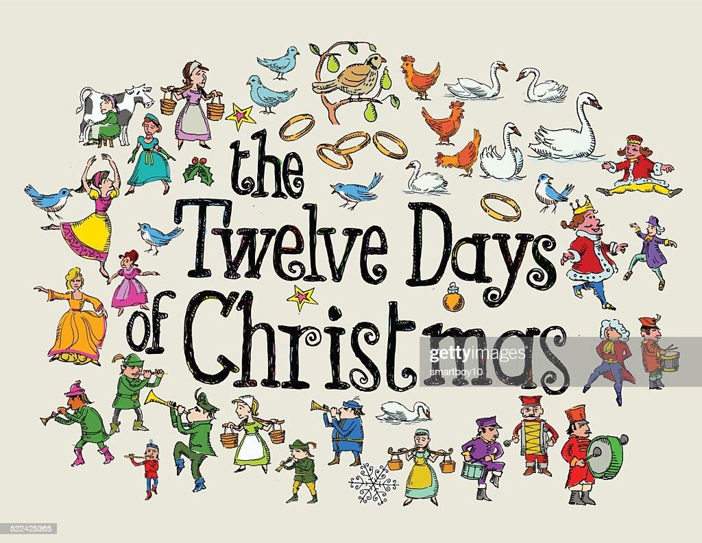 The Twelve Days of Christmas Greeting : stock illustration