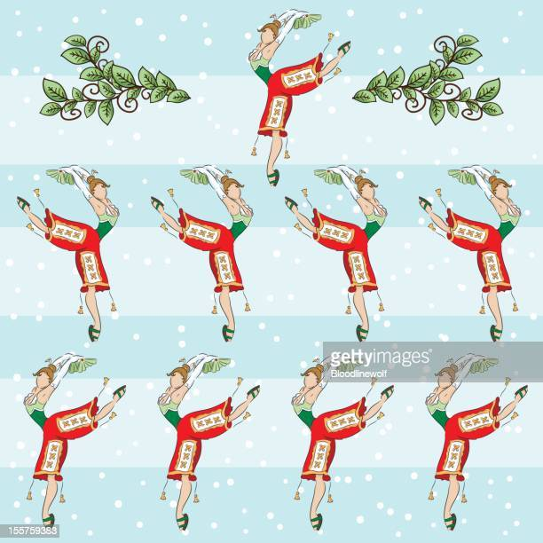Ninth Day Of Christmas.World S Best Ninth Day Of Christmas Stock Illustrations