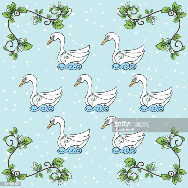 the twelve days of christmas series. seven swans a swimming - seventh day of christmas stock illustrations
