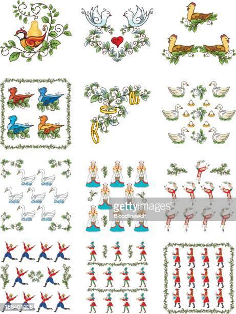 The Twelve days Of Christmas Set - Illustration