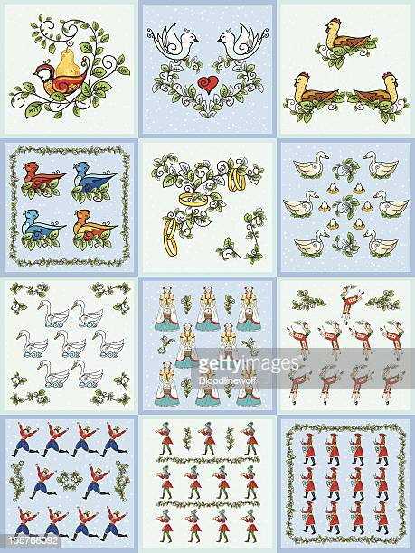 the twelve days of christmas set - seventh day of christmas stock illustrations