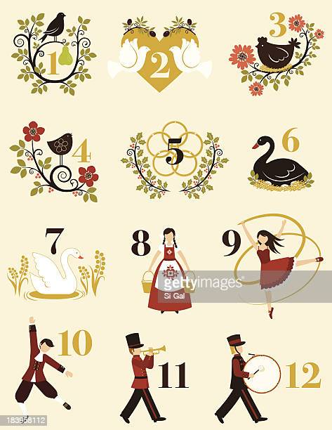 Second Day Of Christmas.12 Second Day Of Christmas Stock Illustrations Clip Art