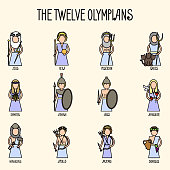 The Twelve Olympians icons set