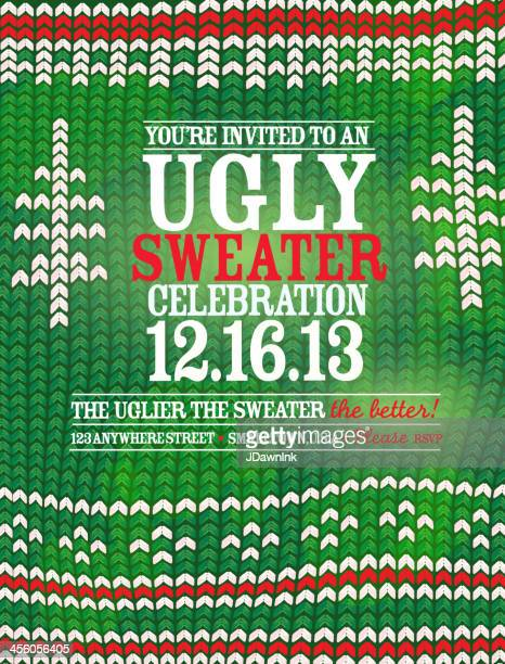 the 'ugly sweater' holiday party celebration invitation design template - sweater stock illustrations, clip art, cartoons, & icons