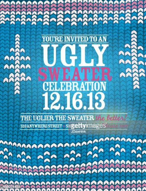 The 'Ugly Sweater' Holiday party celebration invitation design template