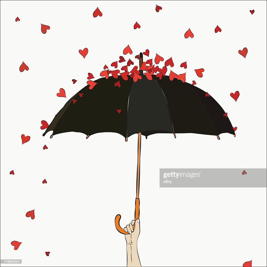 The umbrella with hearts. Valentine's Day.
