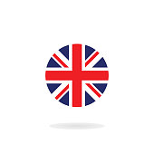The Union Jack in circle form. Vector icon. National flag of the United Kingdom