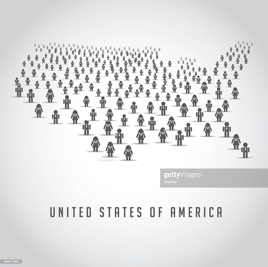 the United States made up of a crowd of people