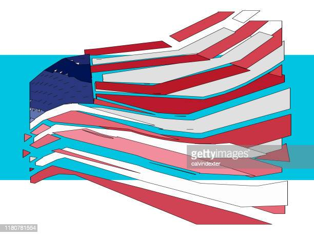the united states of america flag design paint effect - bill of rights stock illustrations