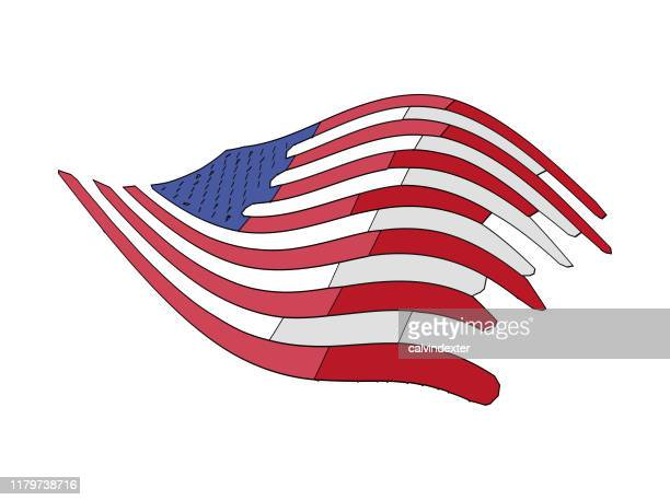the united states of america flag design warp and paint effect - bill of rights stock illustrations