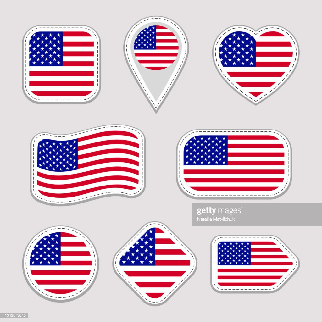 The USA flag vector set. American national flags stickers collection. Vector isolated geometric icons. Web, sports pages, patriotic, travel, school, geographic design elements. Different shapes