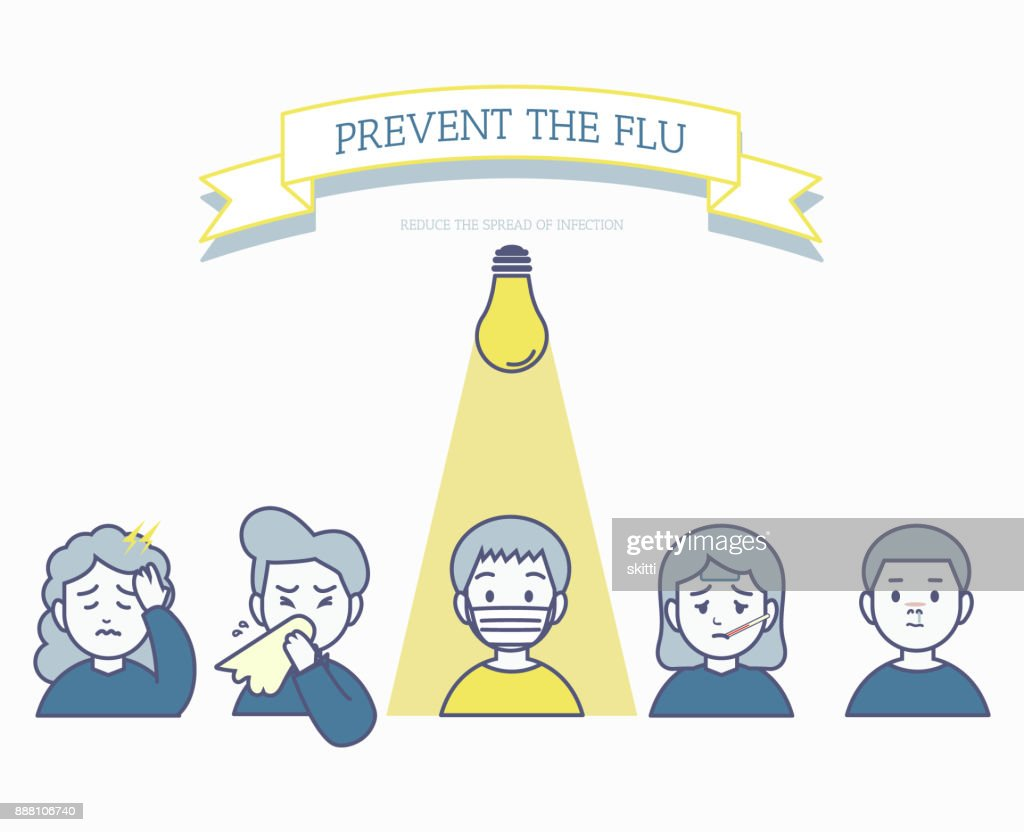 The use of face masks to prevent the Flu, minimal unhealthy people for influenza transmission concept
