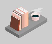 The vector illustration of books and a cup of coffee. Isometric illustration.