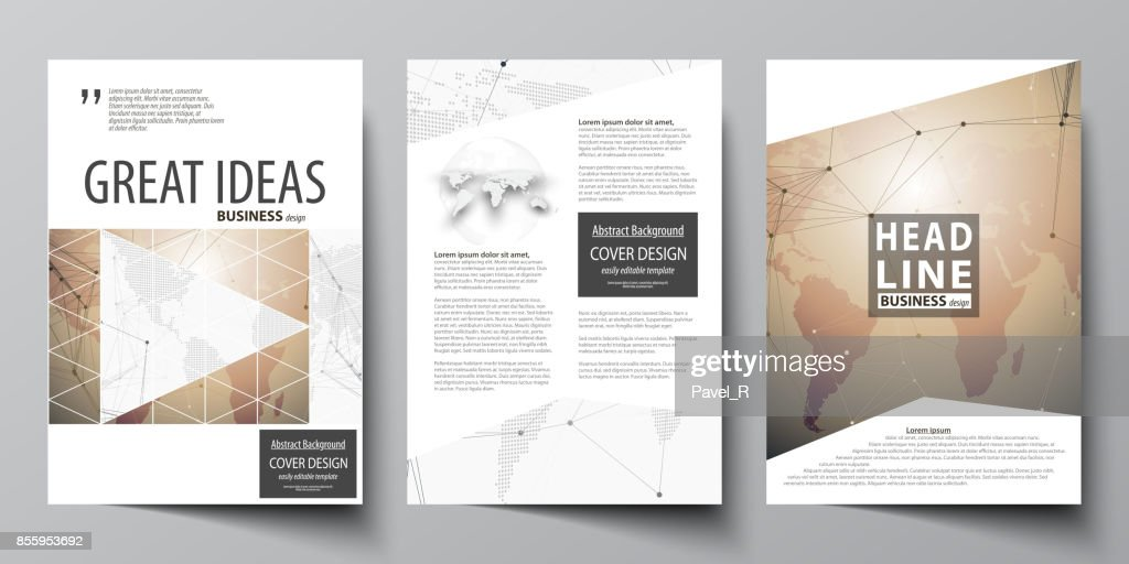 three a4 format modern covers design templates for brochure magazine flyer booklet global network connections technology background with world map
