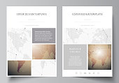 The vector illustration of the editable layout of A4 format covers design templates for brochure, magazine, flyer, booklet, report. Global network connections, technology background with world map
