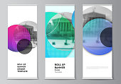 The vector illustration of the editable layout of roll up banner stands, vertical flyers, flags design business templates. Creative modern bright background with colorful circles and round shapes
