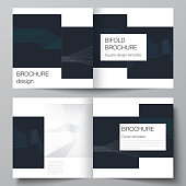 The vector illustration of the editable layout of two covers templates with simple geometric background made from dots, circles, rectangles for square design bifold brochure, magazine, flyer, booklet.