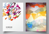 The vector illustration of the layout of A4 format modern cover mockups design templates for brochure, magazine, flyer, booklet, report. Abstract colorful geometric backgrounds in minimalistic design