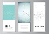 The vector layout of roll up banner stands, vertical flyers, flags design business templates. Technology, science, medical concept. Molecule structure, connecting lines and dots. Futuristic background