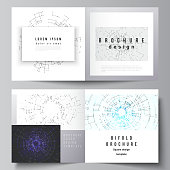 The vector layout of two cover templates for square design bifold brochure, magazine, flyer, booklet. Network connection concept with connecting lines and dots. Technology design digitalbackground