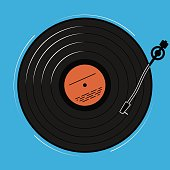 The vinyl player shown schematically and simply. A record with music for a disco or a nightclub.