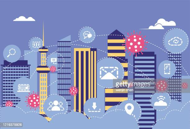 the virus spreads in the city, staying at home and working, - correspondence stock illustrations