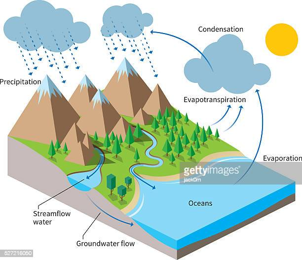 the water cycle, isometric flat color illustration - water cycle stock illustrations, clip art, cartoons, & icons