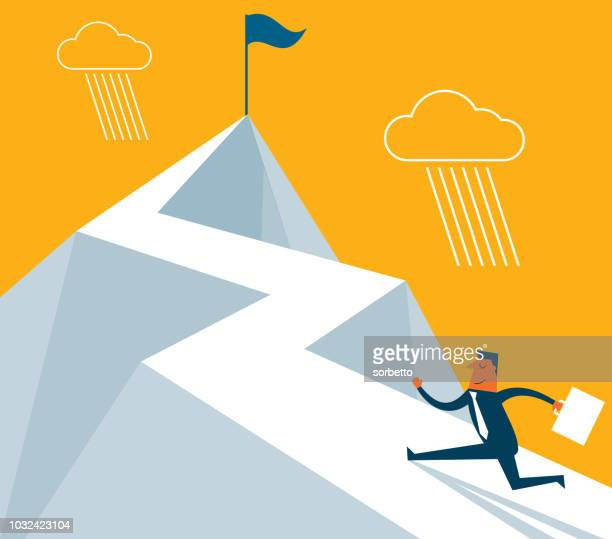 the way forward - businessman - mountain peak stock illustrations, clip art, cartoons, & icons