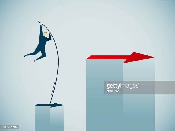 the way forward - pole vault stock illustrations