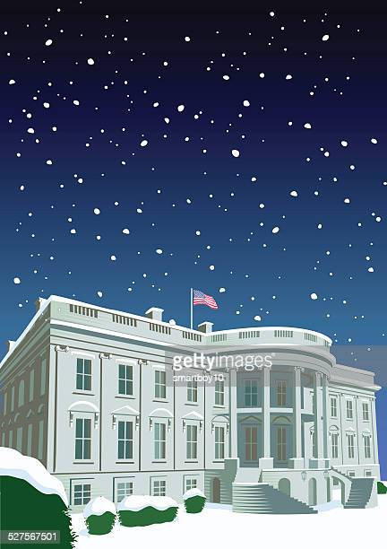 the white house at christmas - white house washington dc stock illustrations, clip art, cartoons, & icons