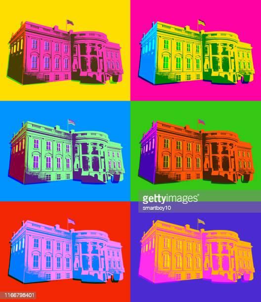 ilustrações de stock, clip art, desenhos animados e ícones de the white house in pop art style - casa branca washington dc