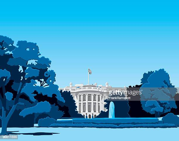 the white house - fountain stock illustrations, clip art, cartoons, & icons