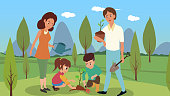 The whole family came out outdoors and planted tree vector illustrations.