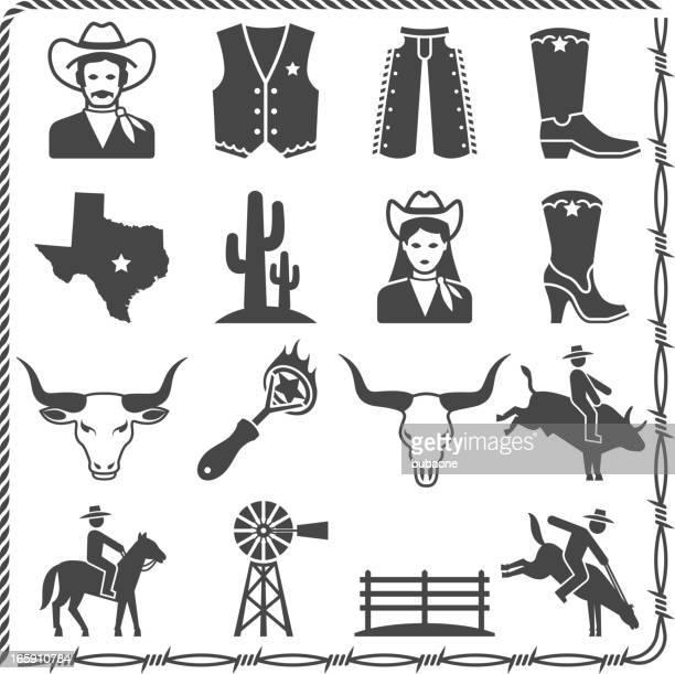 The Wild West Ranch Life black & white icon set