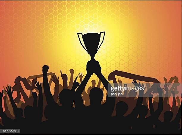 stockillustraties, clipart, cartoons en iconen met the win! - the championship voetbalcompetitie
