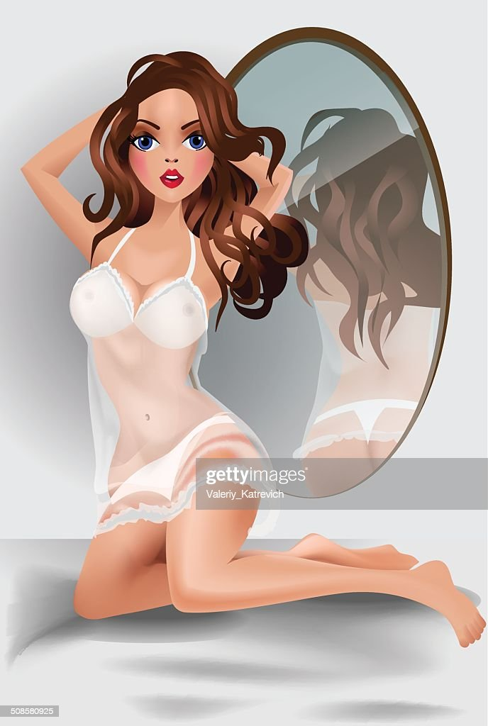 The woman in bedroom,  front of a mirror. : Vector Art